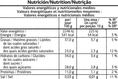 Chocolat noir aux éclats de fêve de cacao caramélisés - Informació nutricional