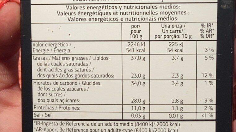 Chocolate negro - Informació nutricional - fr