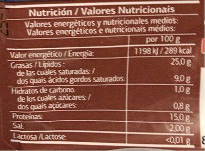 Bacon En Tiras - Informació nutricional - es