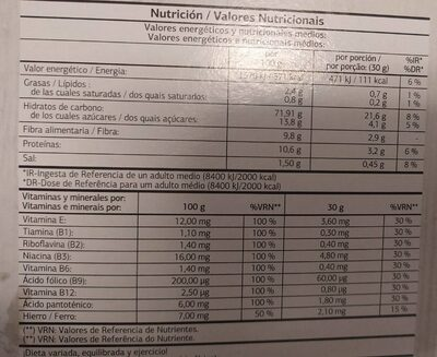 Cereales fibre flakes - Nutrition facts - fr