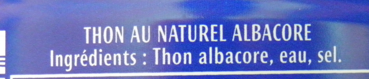 Thon au Naturel (Albacore) - Ingrediënten