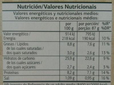 Massa Fina 4 Estações - Nutrition facts - pt