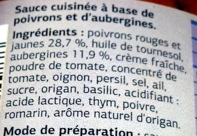 Sauce cuisinée Poivrons Aubergines - Ingredients - fr