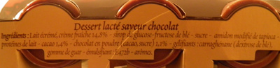 Liégeois Saveur Chocolat Dia - Ingrédients