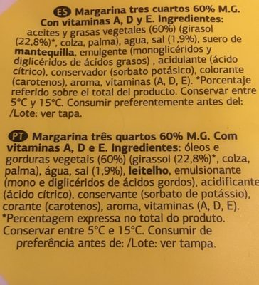 Margarina vitaminada con sal - Ingredients