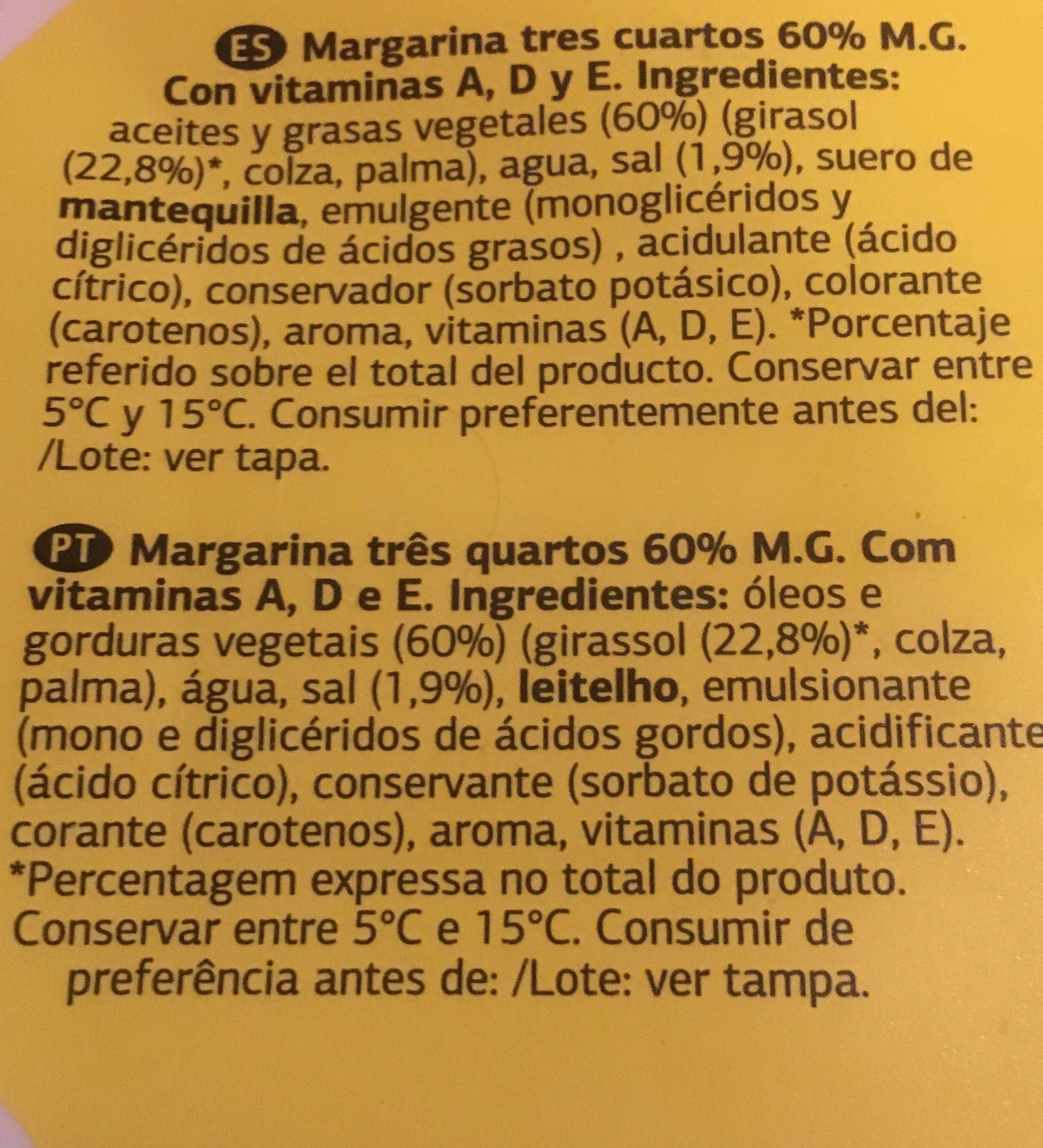 Margarina vitaminada con sal - Ingredientes