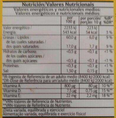 Margarina vitaminada con sal - Informació nutricional - es