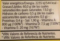 Margarina vitaminada con sal - Información nutricional