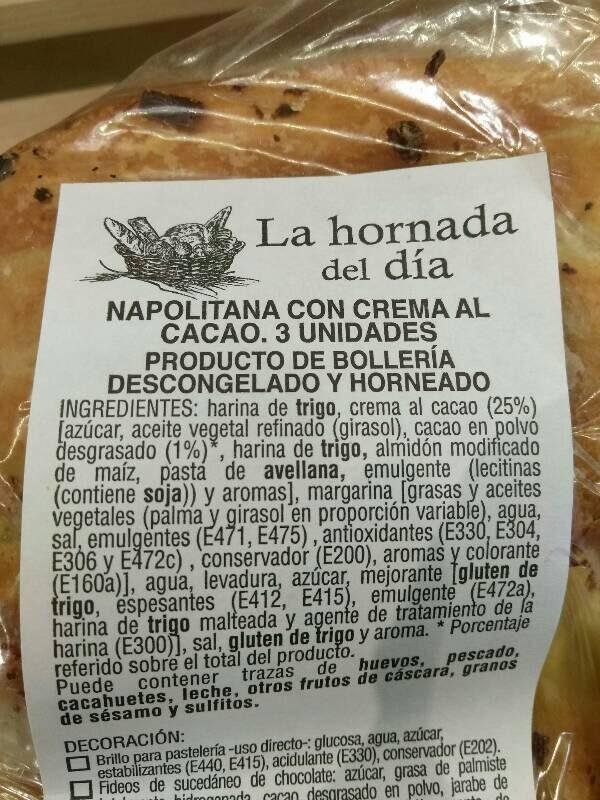 Napolitana con crema al cacao - Ingredientes