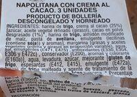 Napolitana con crema al cacao - Informació nutricional - es