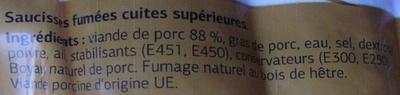 Saucisses fumées Cuites (x 5) - Ingrediënten