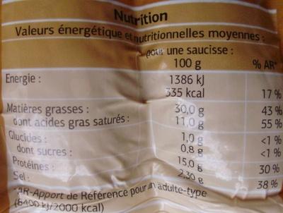 Saucisses fumées Cuites (x 5) - Voedingswaarden