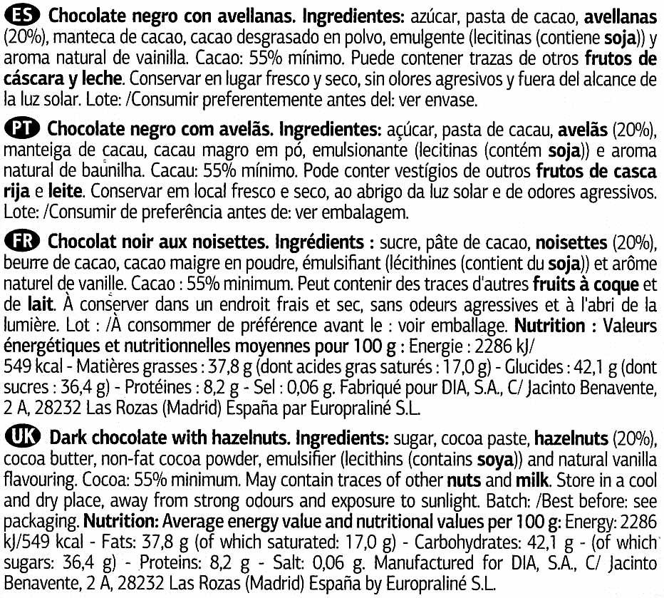 Chocolate negro con avellanas 55% cacao - Ingredients