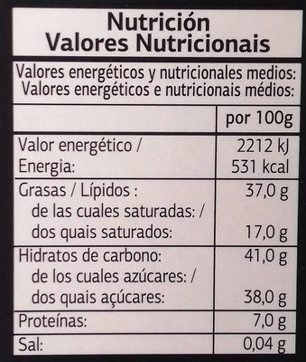 Chocolate Negro con Avellanas - Nutrition facts