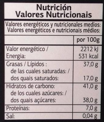 Chocolate Negro con Avellanas - Información nutricional