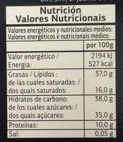 Chocolate negro con almendras - Información nutricional