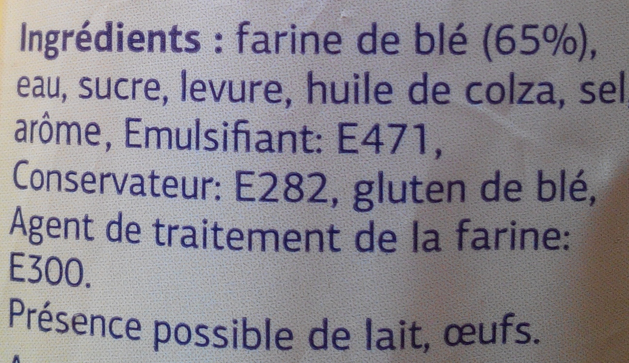 Pain de Mie (15 tranches) - Ingrediënten