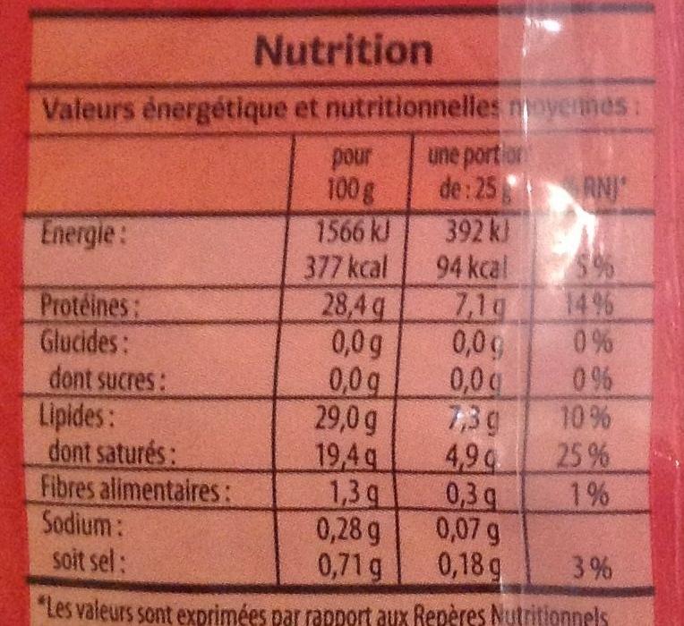 Emmental français râpé (29 % MG) - Informations nutritionnelles - fr