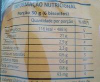 Biscoito Maria - Informação nutricional - pt