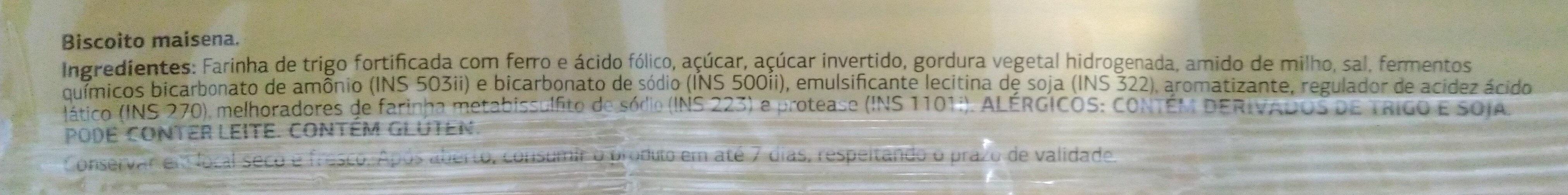 Biscoito Maisena - Ingredientes - pt