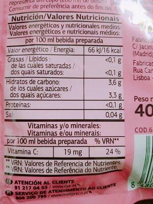 Preparado en polvo sabor Naranja y Fresa - Nutrition facts