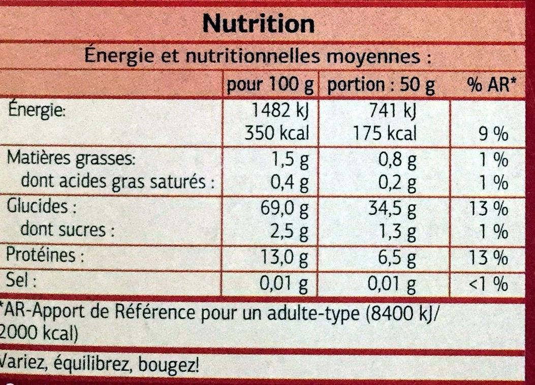 Couscous moyen - Nutrition facts - fr