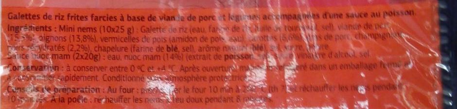 Mini nems au porc (x 10) - Ingrédients - fr