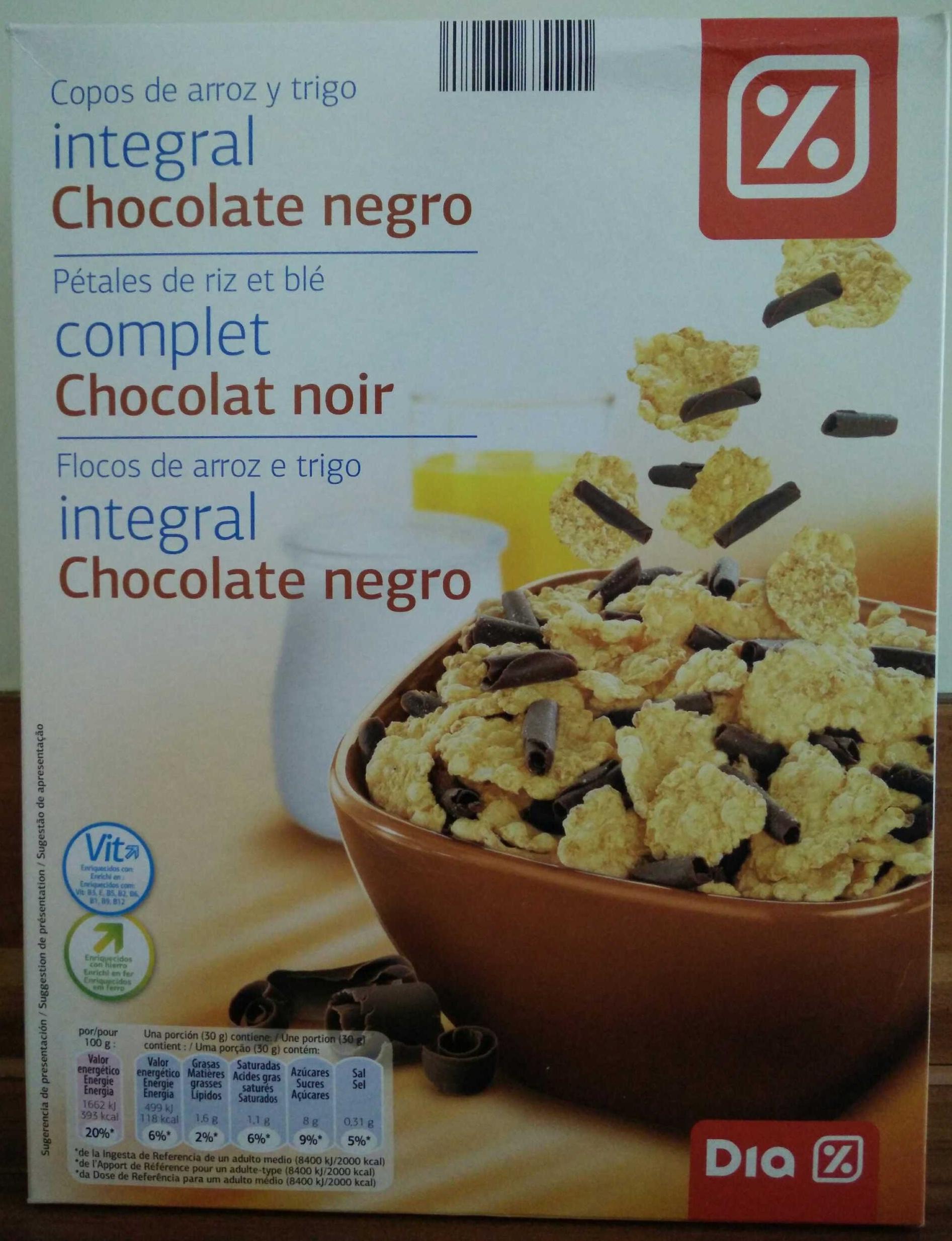 Pétales de riz et blé complet chocolat noir - Produit - fr