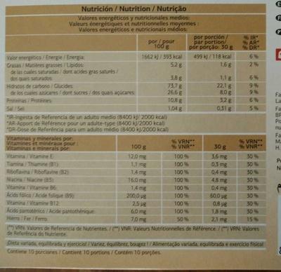 Pétales de riz et blé complet chocolat noir - Informations nutritionnelles - fr