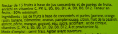 Nectar 13 fruits Dia - Ingredients - fr