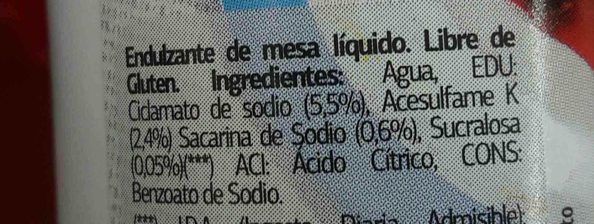 edulcorante dietetico dia % - Ingredientes - es