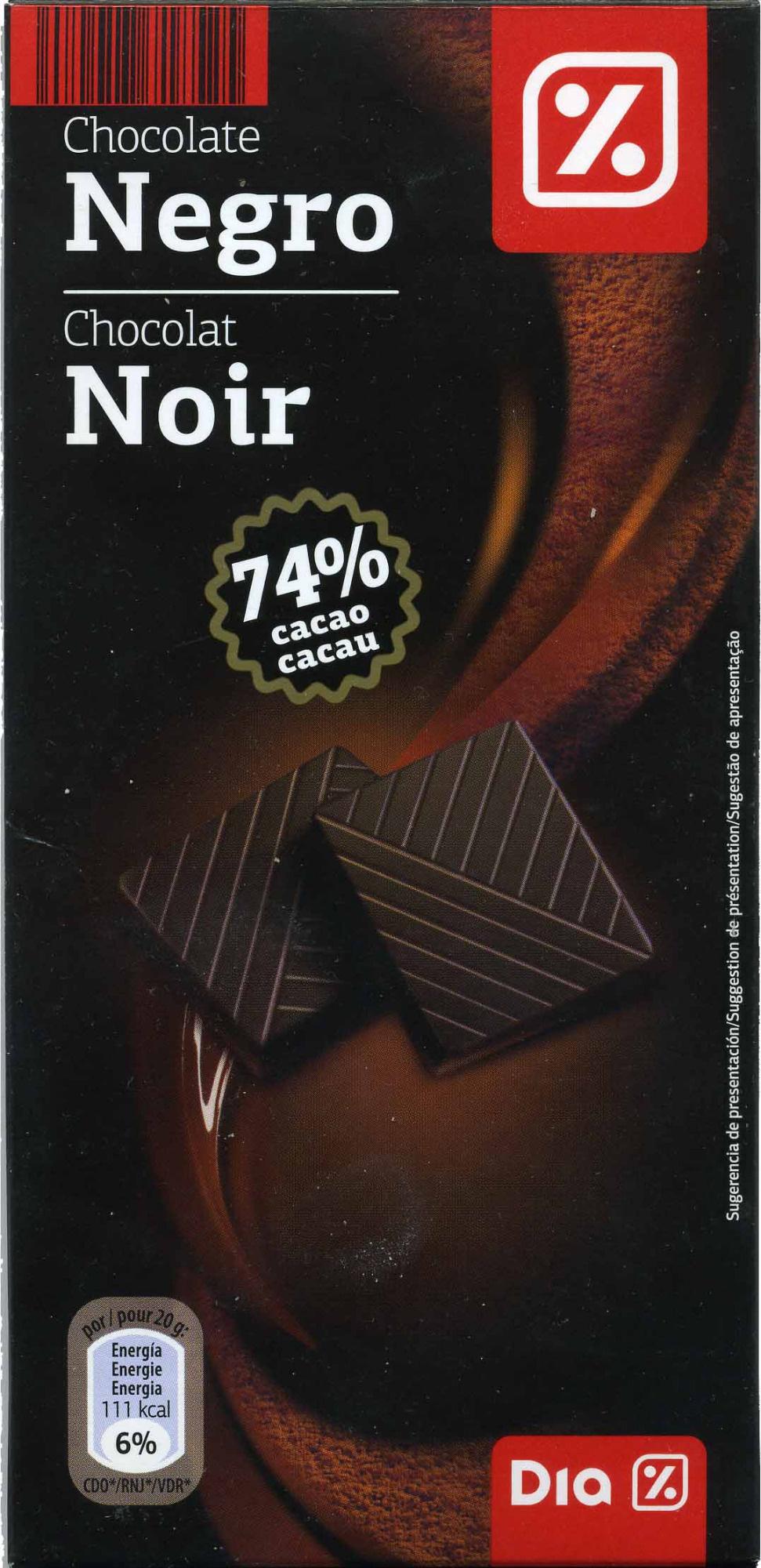 Tableta de chocolate negro 74% cacao - Producto