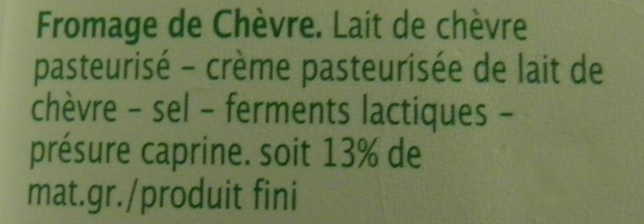Pur Chèvre (13 % MG) - Ingrédients