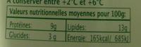 Pur Chèvre (13 % MG) - Informations nutritionnelles