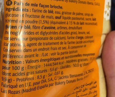 Brioche - Ingrédients - fr