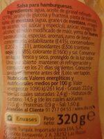 Salsa Burguer DIA% - Ingredients - es