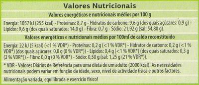 Caldo de legumes - Informação nutricional