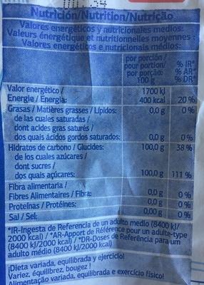 Sucre blanc - Informations nutritionnelles