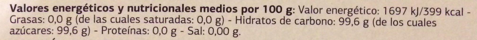 Azúcar moreno de caña integral - Información nutricional