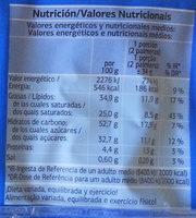 Palmeras de hojaldre al cacao - Información nutricional
