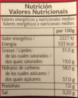 Chocolate con leche - Nutrition facts