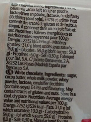 Chocolate blanco - Informació nutricional - es