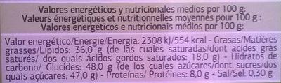 Tableta de chocolate con leche y avellanas - Informació nutricional