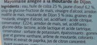 Mayonnaise allégé à la moutarde de Dijon - Ingredients
