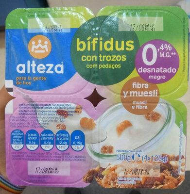 Yogur bífidus con trozos, fibra y muesli 0.4% - Producto - es