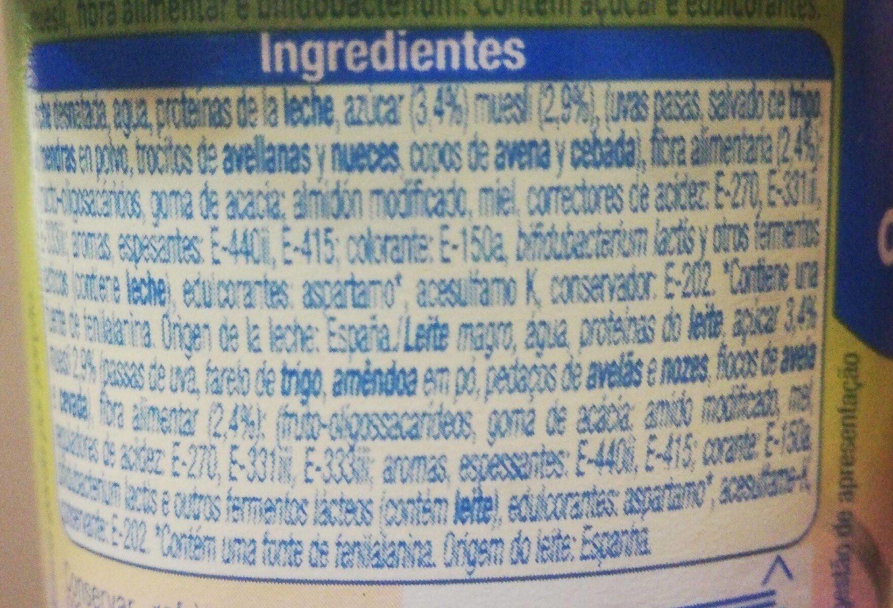 Yogur bífidus con trozos, fibra y muesli 0.4% - Información nutricional - es