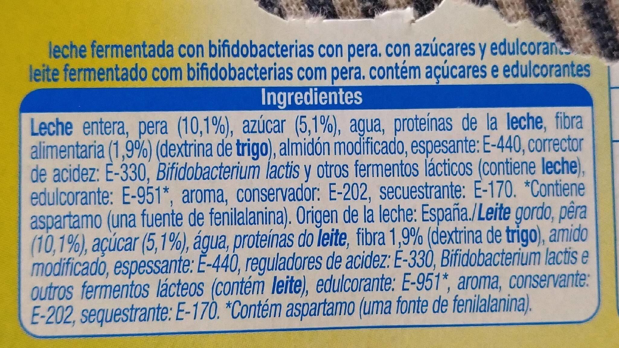 Yogur bífidus - Información nutricional