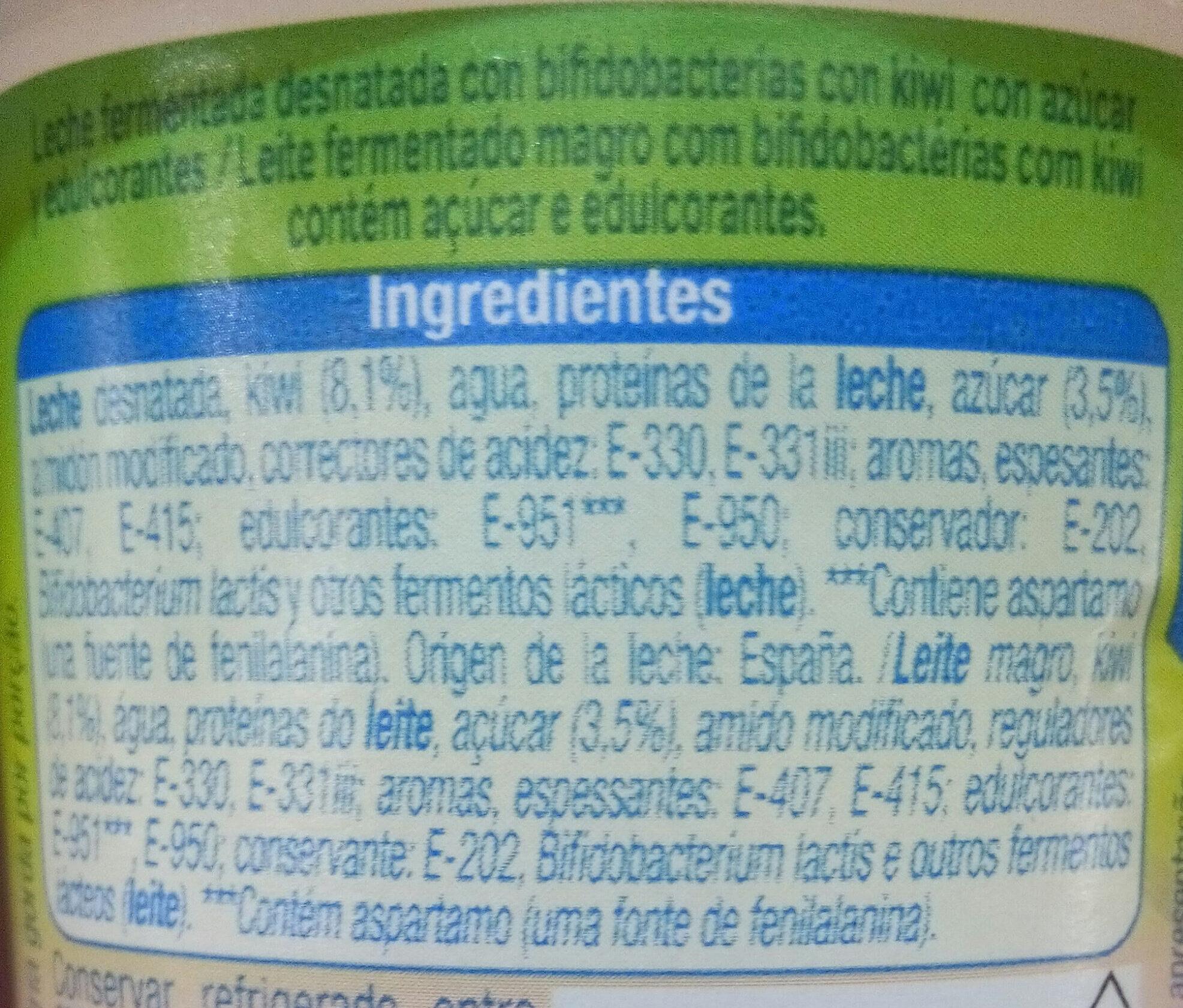 Bífidus con trozos Kiwi - Ingredientes - es