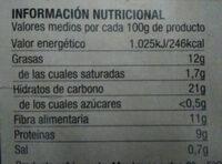 Hummus de garbanzos con pimiento - Información nutricional - es