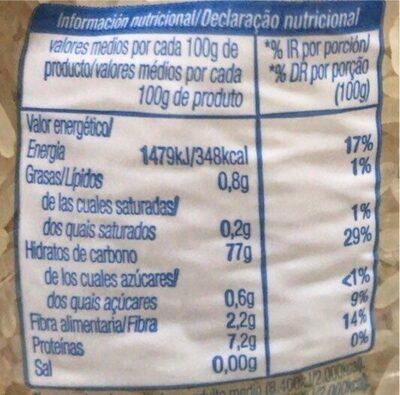 Arroz vaporizado - Informations nutritionnelles - es